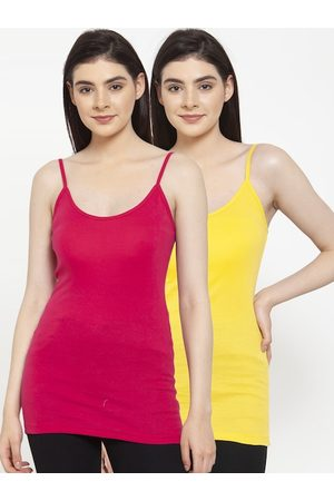 Friskers Women Pack Of 2 Solid Long Camisoles
