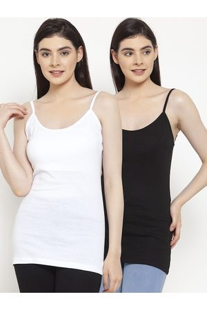 Friskers Women Pack Of 2 Solid Camisoles