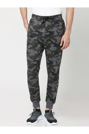Mufti Men Olive-Green & Grey Camouflage Printed Slim-Fit Joggers