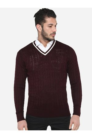 Red Chief Men Maroon Solid Pullover Sweater