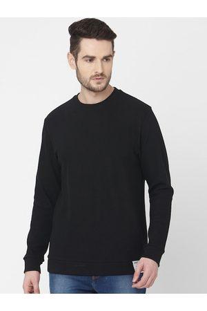 Mufti Men Black Solid Sweatshirt