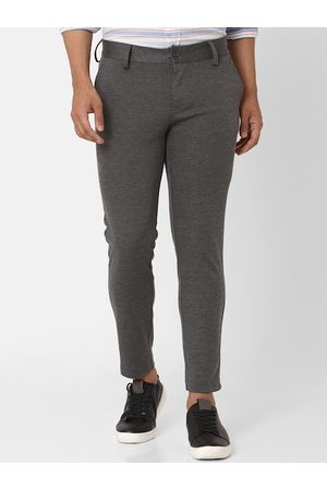 Mufti Men Grey Skinny Fit Solid Formal Trousers