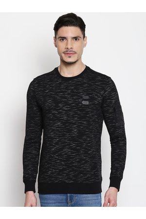 Mufti Men Black Self Design Round Neck T-shirt
