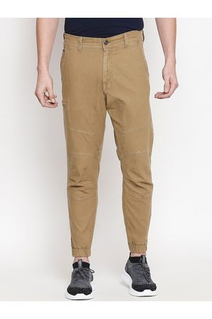 Mufti Men Khaki Brown Tapered Fit Solid Joggers