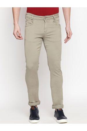 Mufti Men Khaki Skinny Fit Solid Regular Trousers
