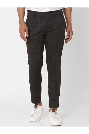 Mufti Men Olive Green Slim Fit Checked Regular Trousers