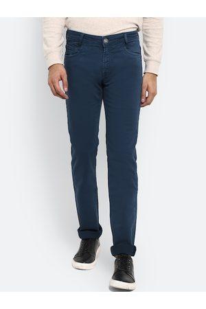 Mufti Men Teal Slim Fit Solid Regular Trousers