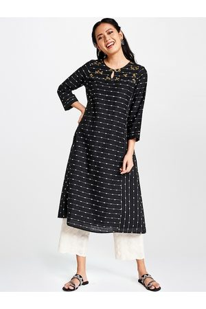 Global Desi Women Black & White Striped A-Line Kurta with Embroidery