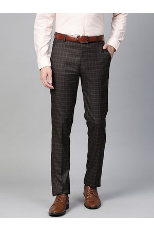 MANQ Men Brown & Checked Slim Fit Formal Trousers