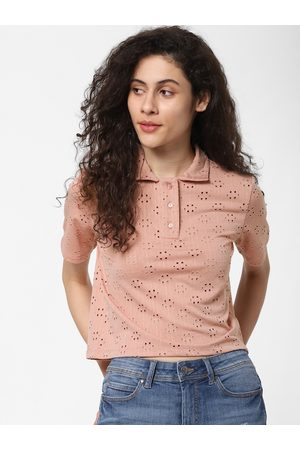 Only Women Pink Self Design Polo Collar T-shirt with Cut Out Detail