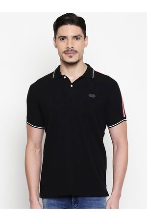Mufti Men Black Solid Polo Collar Slim Fit T-shirt