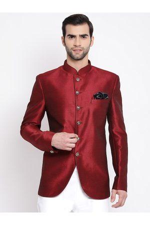 VASTRAMAY Men Maroon Solid Bandhgala Blazer