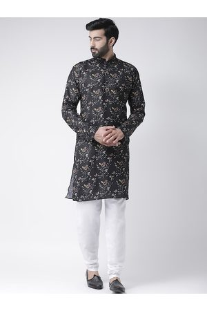 Hangup Men Black & White Printed Kurta with Churidar