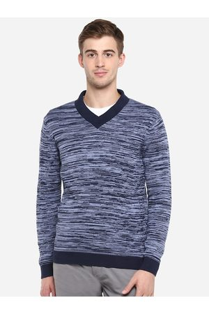 Red Chief Men Jumpers - Men Blue Striped Pullover Sweater