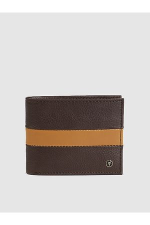 Van Heusen Men Brown & Yellow Colourblocked Leather Two Fold Wallet
