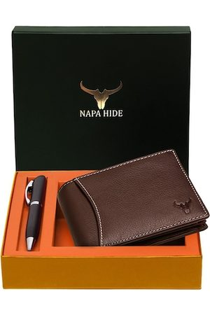 NAPA HIDE Men Brown RFID Protected Genuine Leather Accessory Gift Set