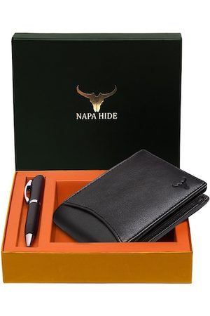NAPA HIDE Men Black RFID Protected Genuine Leather Accessory Gift Set