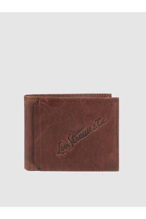 Levi's Men Brown Self Design Leather Two Fold Wallet