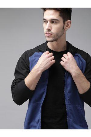 Roadster Men Blue & Black Solid Hooded Sweatshirt