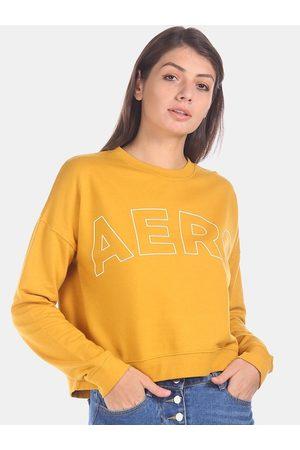 Aeropostale Women Yellow Self Design Sweatshirt