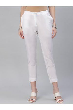 Libas Women White Regular Fit Solid Cigarette Trousers