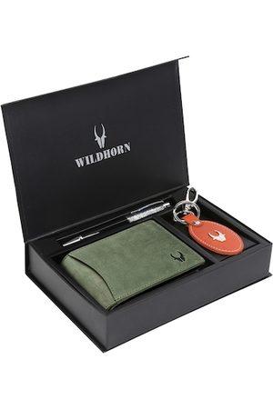 WildHorn Men Green & Orange RFID Protected Genuine Leather Wallet Gift Set