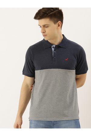 American Crew Men Navy Blue Colourblocked Polo Collar T-shirt