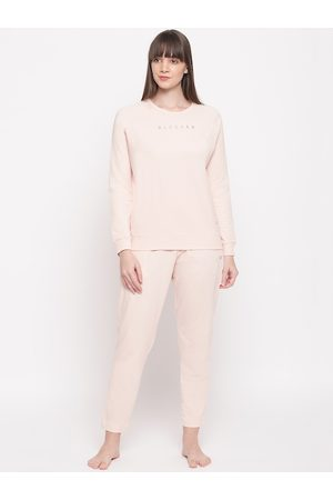 ENAMORA Women Peach-Coloured Solid Night Suit