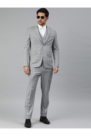 Louis Philippe Men Grey Checked Slim Fit Single Breasted 4 Piece Formal Suit