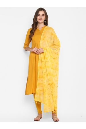 Janasya Women Mustard Yellow Solid A-Line Kurta With Dupatta