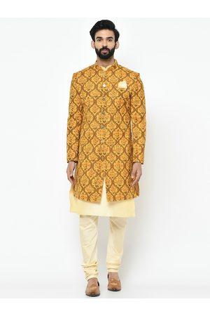 KISAH Men Mustard Yellow & Green Kurta Sherwani Set