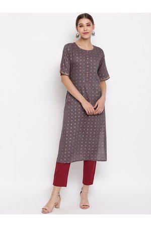 Janasya Women Grey & Gold-Toned Printed Straight Kurta