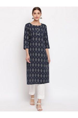 Janasya Women Navy Blue & Grey Printed Straight Kurta