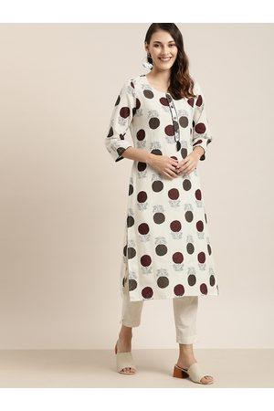 Moda Rapido Women Off-White & Maroon Floral Printed Straight Kurta