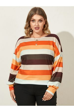 YOINS Plus Size Round Neck Multicolor Long Sleeves Tee