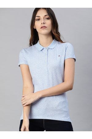 Tommy Hilfiger Women Blue Printed Polo Collar T-shirt