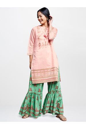 Global Desi Women Pink & Green Printed Straight Kurta with Sequined Detailing