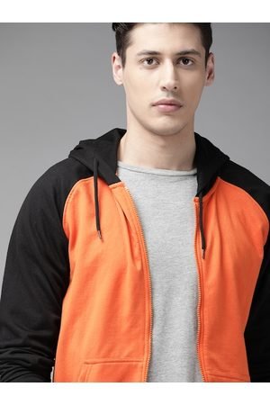 Roadster Men Orange & Black Solid Hooded Sweatshirt