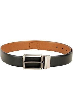 ZEVORA Men Black & Tan Solid Belt