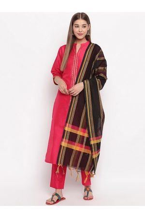 Janasya Women Pink Solid Kurta with Trousers & Dupatta