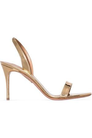 Aquazzura Women Platform Sandals - So Nude metallic slingback sandals