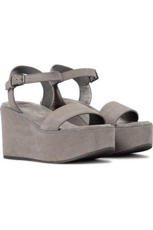 Brunello Cucinelli Women Sandals - Suede platform wedge sandals