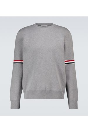 Thom Browne Men Jumpers - Milano stitch 4-Bar cotton sweater