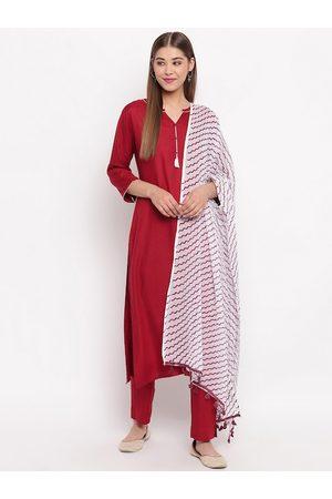 Janasya Women Red & White Printed Kurta with Palazzos & Dupatta