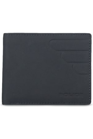 Police Men Navy Blue Solid Two Fold Leather Wallet
