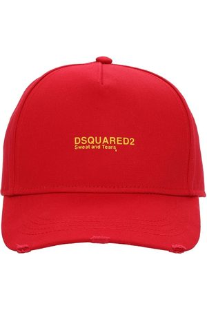 Dsquared2 Men Hats - Logo Embroidered Cotton Gabardine Cap