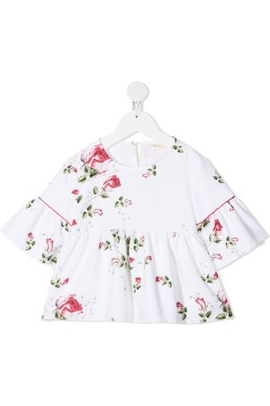 MONNALISA Floral-print short-sleeved blouse