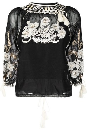 RED Valentino Floral-embroidered woven blouse
