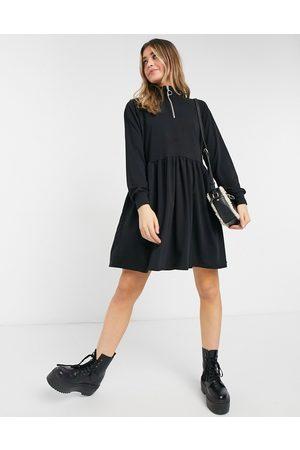 New Look Zip high neck sweatshirt dress in