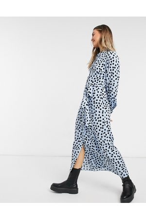 New Look Belted midaxi shirt dress in polka dot